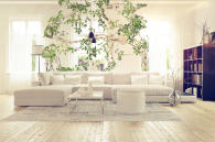 Modern spacious white lounge interior